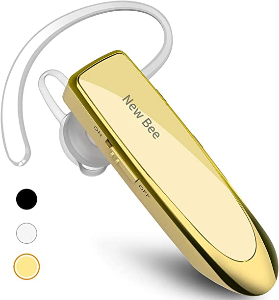 Amazon Com New Bee Bluetooth Earpiece V5 0 Wireless Handsfree Headset 24 Hrs Driving Headset 60 Days Standby Time With Noise Cancelling Mic Headsetcase For Iphone Android Samsung Laptop Truck Driver White Gold