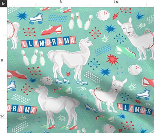 Spoonflower llam-o-rama! Fabric - Llamas Party Decor Llamas Llama Retro Bowling Rollerskate Atomic Shoes Party by Strangecharmdesign Printed on Petal Signature Cotton Fabric by The Yard