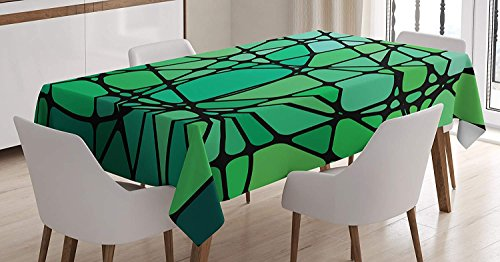 CHARMHOME Blue Green Cotton Linen Tablecloth, Dining Room Kitchen Rectangular Table Cover 54(W) X79(L) inchInch, Stained Glass Style Abstract Design Contemporary Vibrant Artistic