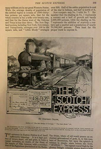 Euston Station - 1899 Stephen Crane The Scotch Express Euston Station illustrated