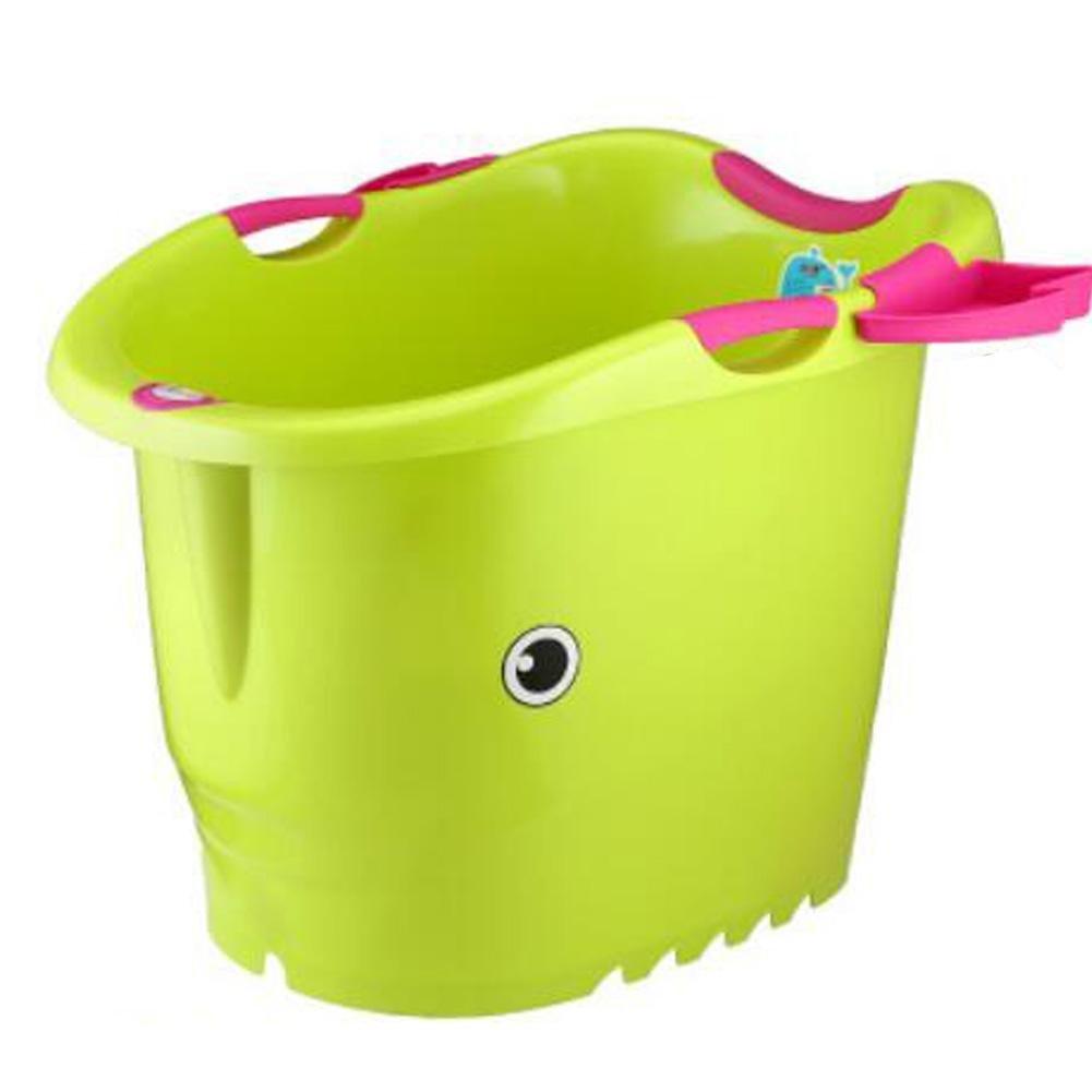 YUGDSIMB Oversized Children Bath Plastic Thickening , Green + Red Handrail