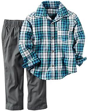 Baby Boys 2 Piece Playwear Sets, Blue Plaid/Grey, 3M