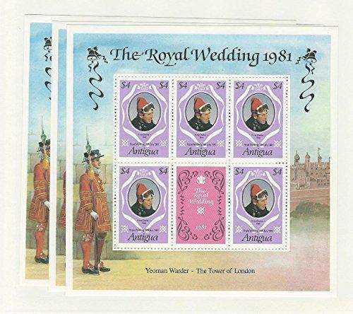 Antigua, Postage Stamp, 625a Mint NH Sheets, 1981 Royal Wedding, Diana