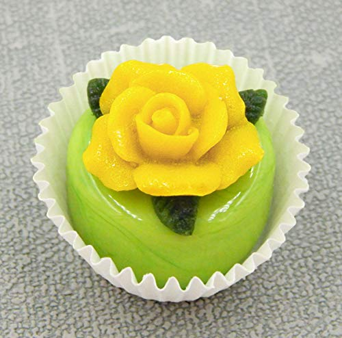 Handmade Art Glass Yellow Rose atop a Pistachio Chocolate Petit Four Gift Home Décor
