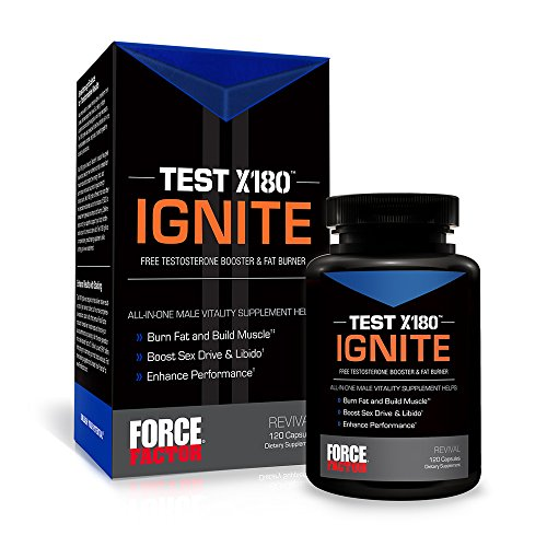 Facteur de force Test X180 s'enflammer, Booster de testostérone libre pour construire le Muscle + Burn Fat, comte 120