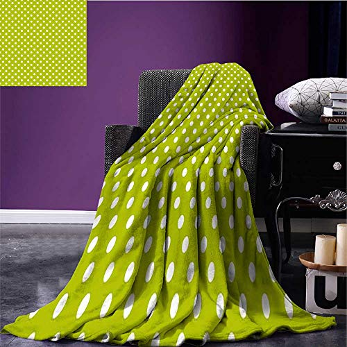 RenteriaDecor Retro Cozy Flannel Blanket Vintage Old Fashioned 60s 70s Inspired Polka Dots Pop Art Style Art Print Print Summer Quilt Comforter Lime Green and White Bed or Couch 70