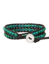 KELITCH Created Agate Crystal Gems Beads Charm 2 Wrap Bracelets Handmade Natural Leather New Jewelry