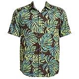 Tommy Bahama Batiki Tiki Silk Blend Camp Shirt (Color: Tapenade, Size 3XL)
