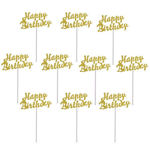 ULTNICE 10Pcs Cake Topper Gold Cupcake Toppers Happy Birthday Cake Decor for Party