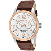 Invicta 13010 Mens Silver Textured Dial Brown Leather Watch