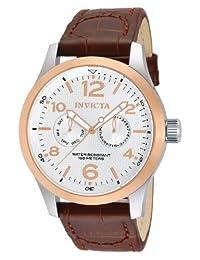 Invicta I-Force 13010, Reloj en acero inoxidable para hombre con faja marrón de cuero