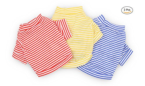 DroolingDog Dog Clothes Pet Striped T-shirt Plain Puppy Apparel for Small Dogs, Small, Pack of 3
