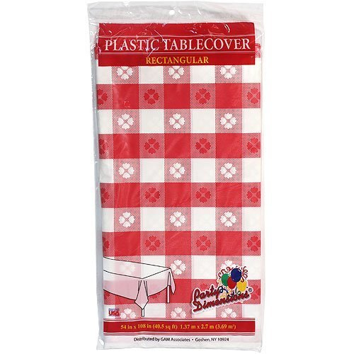 Plastic Party Tablecloths - Disposable, Rectangular Tablecovers - 8 Pack - Red Gingham - By Party Dimensions