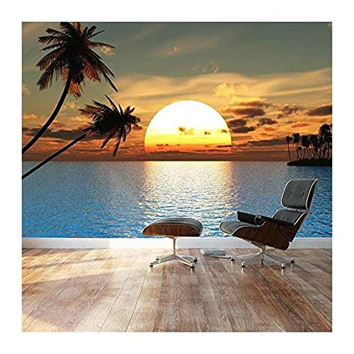 Large Wall Mural Beautiful Tropical Scenery Landscape Palm Trees on The Beach at Sunset Vinyl Wallpaper Removable Decorating