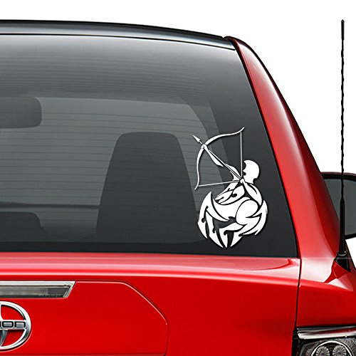 Sagittarius Astrology Sign Zodiac Horoscope Vinyl Decal Sticker Car Truck Vehicle Bumper Window Wall Decor Helmet Motorcycle and More - (Size 5 inch / 13 cm Tall) / (Color Matte White) (Zodiac Matte Sagittarius)