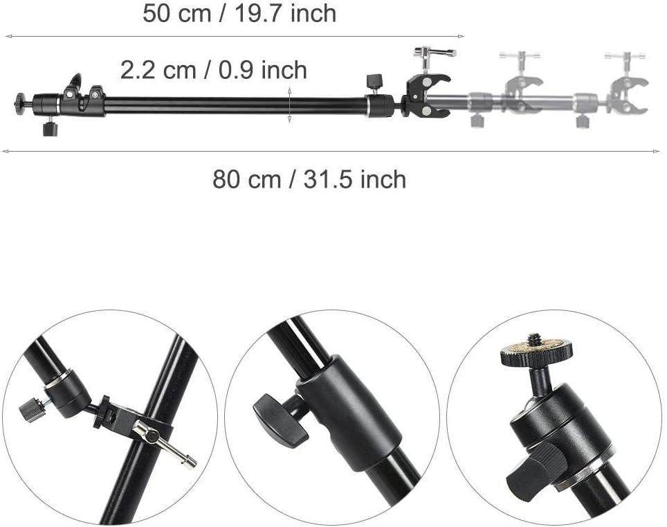 Oumij Track Dolly Rail Slider Stand Aluminium Alloy 2 Sections Foldable 10-50cm Clamp Range Photography Camera Video Slider Support Tripod Rods with Clamp
