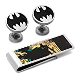 Man Fixings Vintage Silver Batman Cufflinks and Money Clip Gift Set