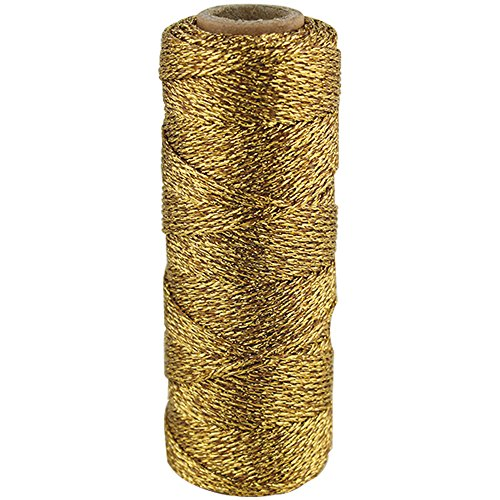 Just Artifacts Eco Metallic Bakers Twine 55yd 11 Ply Solid Gold - Decorative Bakers Twine for DIY Crafts and Gift Wrapping -