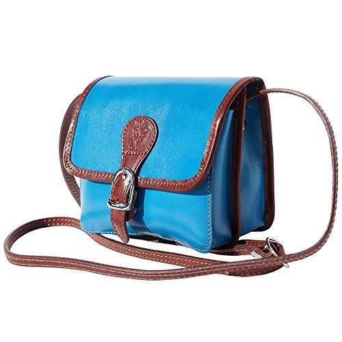 Bolso Market De Azul Celestial 225 marron Leather En Bandolera Florence Vaca Piel aTOUnEW