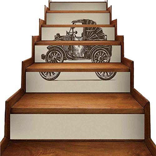 TecBillion Cars Nice Stairs Sticker,Classic Retro Car Design Early Prototypes of Automobile Semi Convertible Old School for Home,39.3
