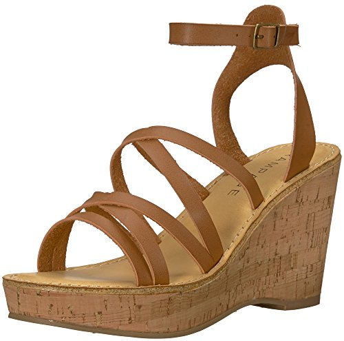 Rampage Women's Zaira Strappy Platform Cork Wedge Sandal, Cognac Burnish, 9 M US Clear Cork Wedge