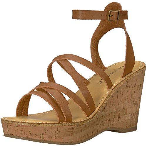 Rampage Women's Zaira Strappy Platform Cork Wedge Sandal, Cognac Burnish, 8.5 M (Cork Strappy Sandals)
