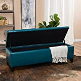 Coffee Table with Ottoman Seating Christopher Knight Home 296848 Living Skyler Teal Leather Storage Ottoman, 17. 50D x 51. 25W x 16. 25H,