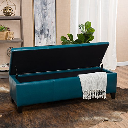 Christopher Knight Home 296848 Living Skyler Teal Leather Storage Ottoman, 17. 50D x 51. 25W x 16. 25H,