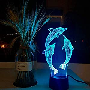 Novelty 3D Illusion Lamps LED Dolphin Night Lights USB 7 Colors Sensor Desk Lamp for Kids Christmas Birthday Gifts Home Decoration (Dolphin)(Dolphin)