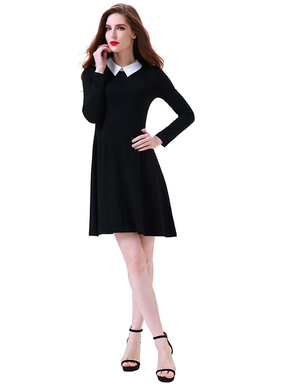 bce8dcaf7 Aphratti Women's Long Sleeve Casual Shirt Peter Pan Collar Flare Dress at  Amazon Women's Clothing store:
