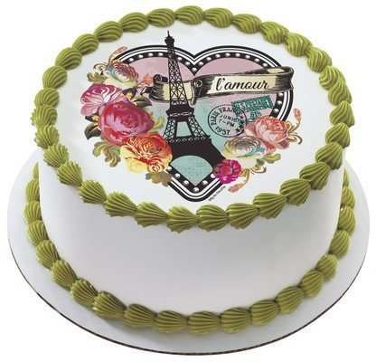 New Parisian Paris Heart Edible Cake Image Topper by DecoPac