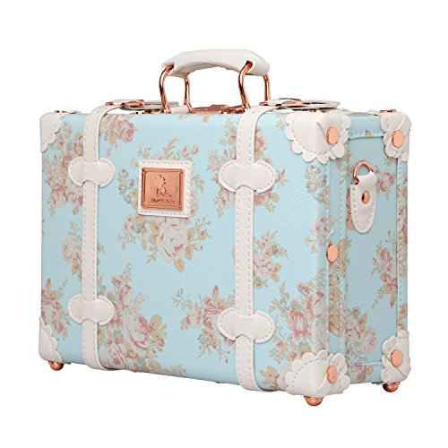 - Unitravel Vintage Suitcase PU Leather Small Floral Box with Straps Carry on 12