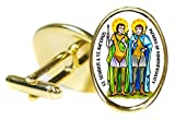 St Sergius & St Bacchus Patrons of Homosexuality 18x24mm (3/4'' X 1'') Oval Gold Pair of Cuff Links