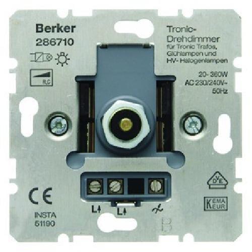 Berker 286710 Integrado Regulador de intensidad Met/álico regulador Regulador de intensidad, Integrado, Giratorio, Met/álico Reguladores