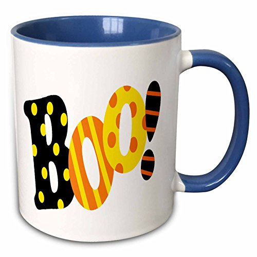 3dRose Anne Marie Baugh - Halloween - Cute Boo Word In Stripes and Polka Dots - 15oz Two-Tone Blue Mug (mug_216822_11) -
