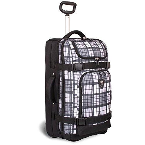 Grey White 20-Inch Sports Plaid Checkered Pattern Oversize Wheeled Duffle Bag Upright Rolling Duffle, Beautiful Check Theme Carry on Duffel, Wheeled Duffel with Wheels, MultiCompartment, Fashionable