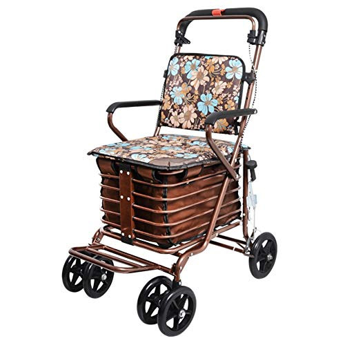 Shopping Cart Trolley Folding Shopping Trolley with Padded Seat and Basket, Elderly Rollator Walker, Height Adjustable, Safety Brake (Color : Gold Flower Style)