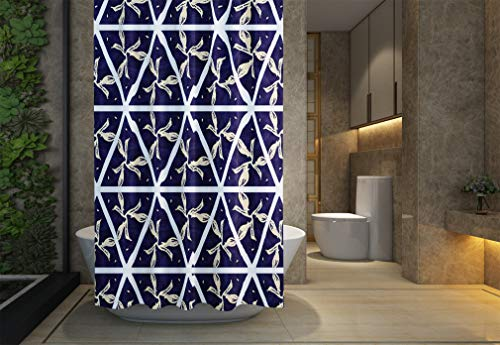 Asdecmoly No Chemical Odor Shower Curtain, Hooks Resistant Waterproof Bathroom Shower Curtains 66X72 inches Pencil Drawing Handmade Raster Ethnic Pattern Navy Blue Background Cream Green Light