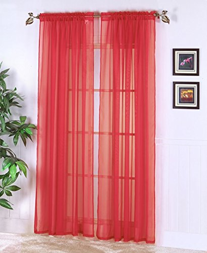 Luxury Discounts 2 PC Solid Rod Pocket Sheer Window Curtain Treatment Drape Voile Panels Red