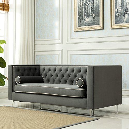 Christies Home Living Victoria Collection Contemporary Polyester Velvet Fabric Upholstered Button Tufted Living Room Tuxedo Sofa with 2 Lumbar Pillows and Clear Acrylic Legs, Grey by Christies Home Living