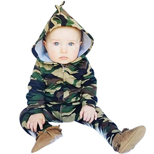 - FEITONG Baby Romper, Infant Newborn Baby Boys Girls Camouflage Hooded Romper Jumpsuit (6-12Month, Green)