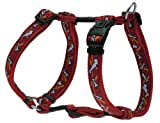 Rogz Fancy Dress Large 3/4-Inch Beachbum Adjustable Dog H-Harness, Bones on Red Design, My Pet Supplies
