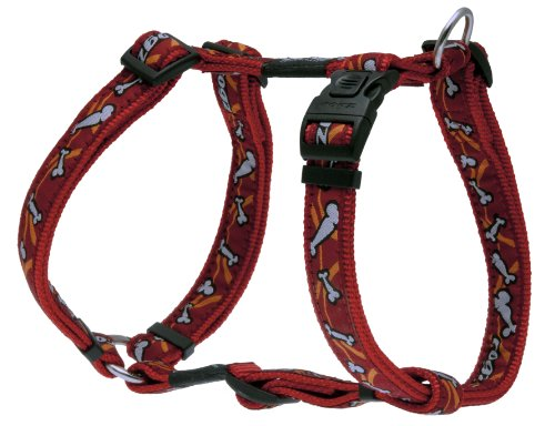 Rogz Fancy Dress Large 3/4-Inch Beachbum Adjustable Dog H-Harness, Bones on Red Design, My Pet Supplies