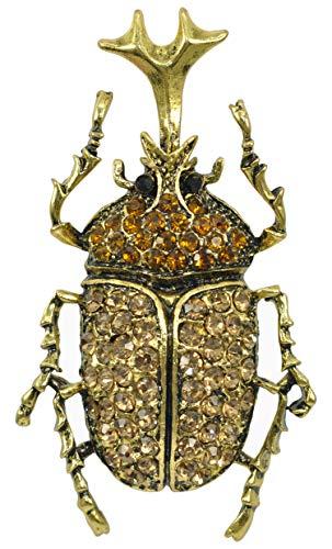 (Gyn&Joy Antique Gold Tone Topaz Brown Rhinestones Vintage Insect Beetle Bug Brooch Pin BZ248)