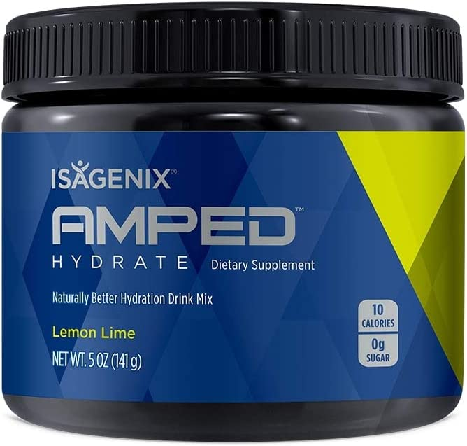 Isagenix Amped Hydrate Canister,141 Grams of Drink Mix – 45 Servings Lemon Lime