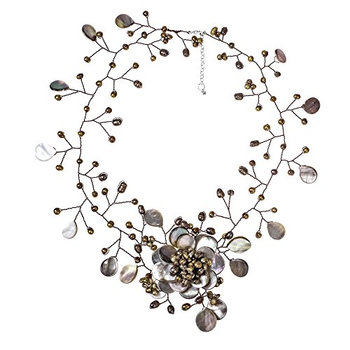 AeraVida Bronze Cultured Freshwater Pearl Floral Convert Necklace Pin Earrings ()
