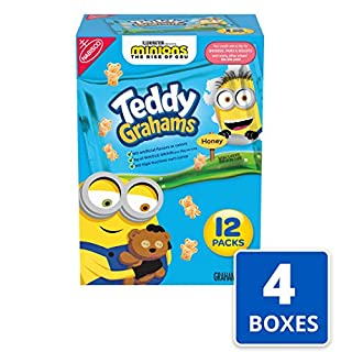 Teddy Grahams Honey Graham Snacks, 4 Boxes of 12 Snack Packs (48 Total Snack Packs)