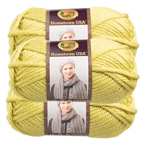 (Lion Brand (3 Pack) Hometown USA 100% Acrylic Soft Monterey Lime Green Yarn for Knitting Crocheting Super Bulky #6 )