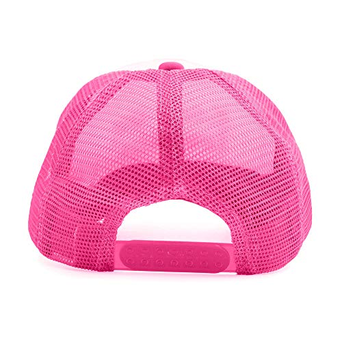 Opromo Kids Two Tone Mesh Curved Bill Trucker Cap, Adjustable Snapback, 14 Colors-Hot Pink/White-1 Pieces by Opromo (Image #2)