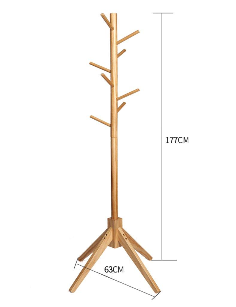 Qiangzi ソリッドウッドコート帽子ラック家庭用床スタンドコートスタンド(2色、63 * 177cm) 洋服掛け 衣類収納 ( 色 : Solid wood ) B0789FC45R Solid wood Solid wood